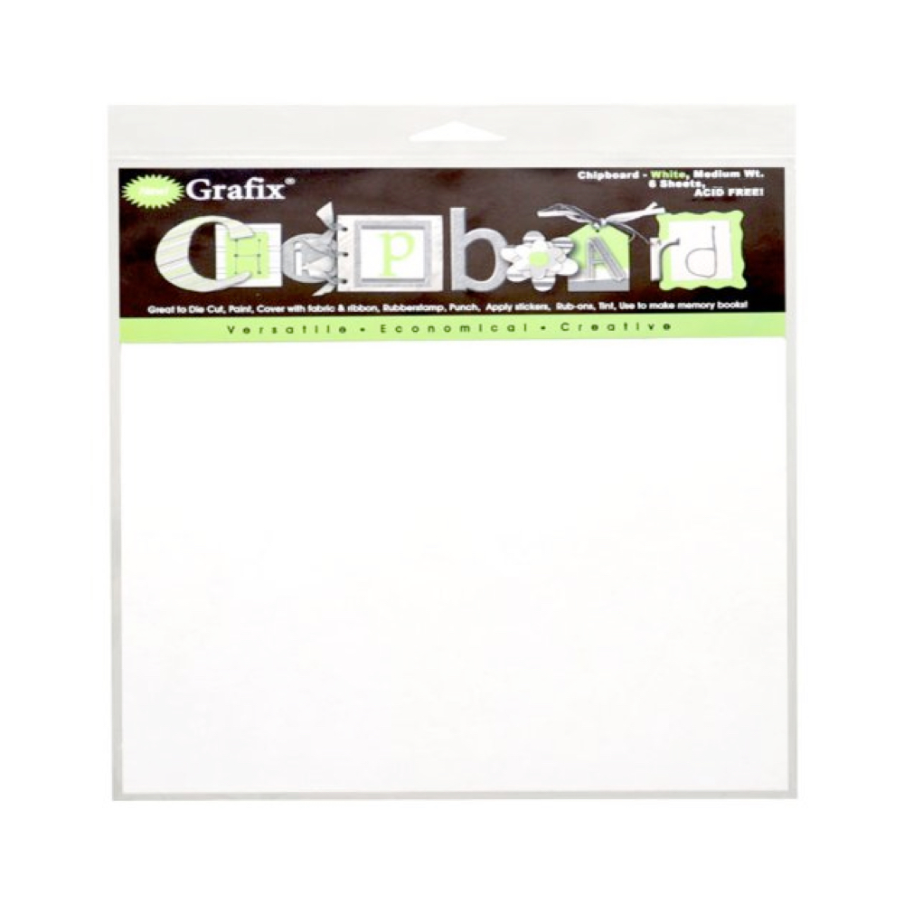 Chipboard White 8.5X11 Pack Of 6