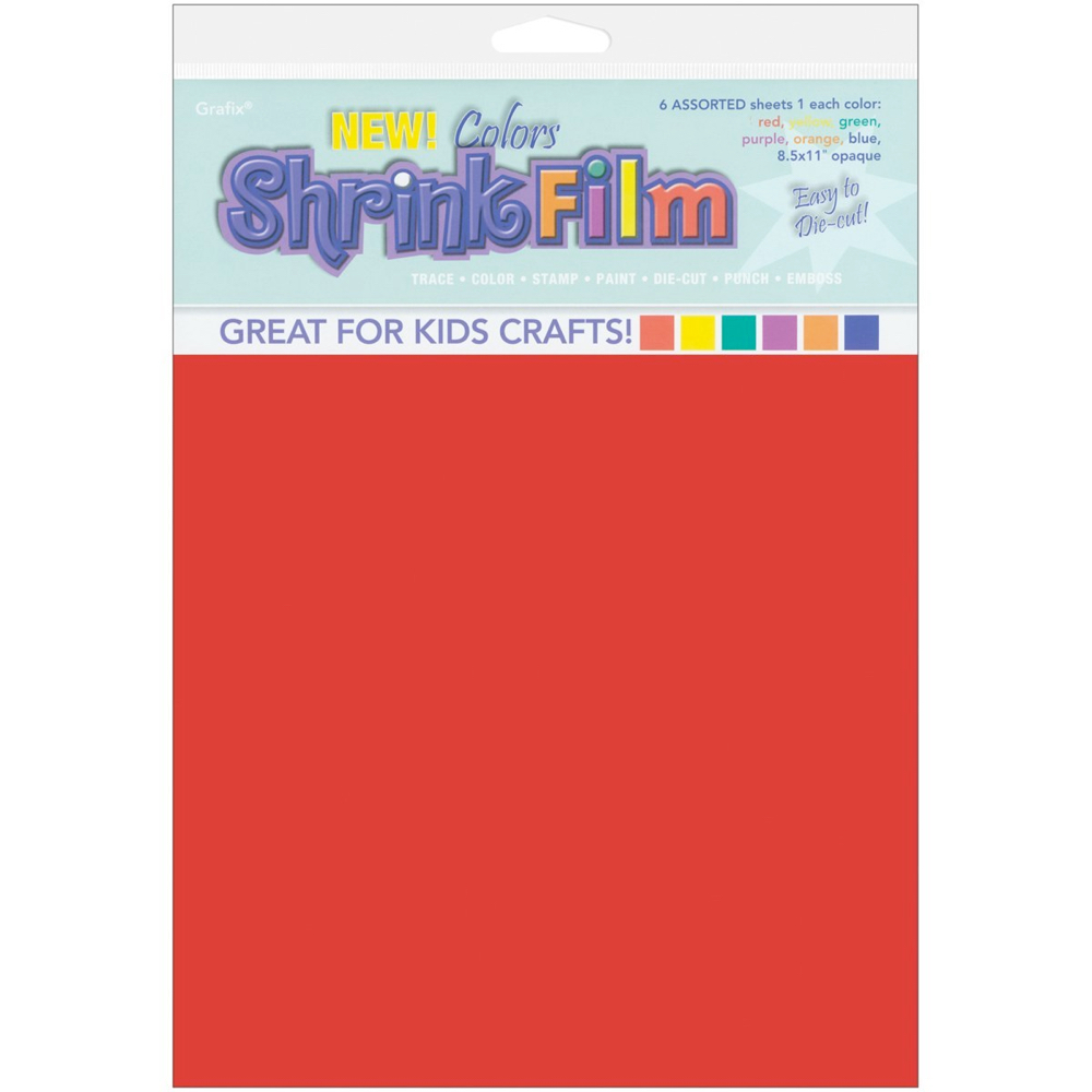 Grafix Shrink Film 8.5X11 Assorted Colors 6Pk