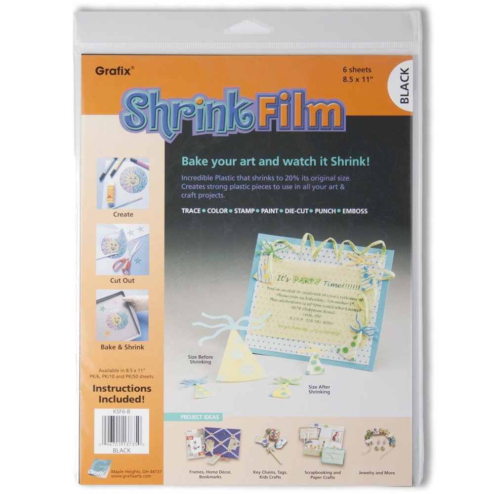 Grafix Shrink Film 8.5X11 Black 6/Pack