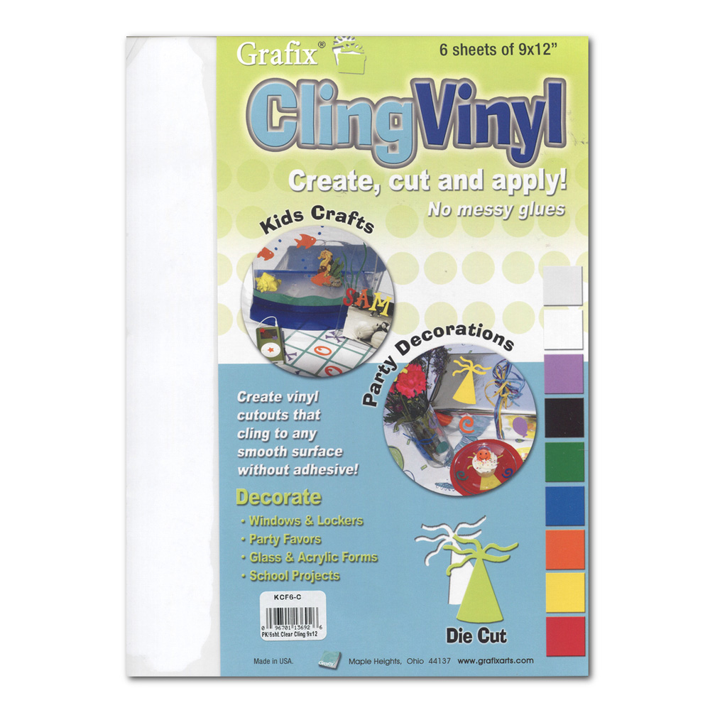 Grafix Cling Vinyl Film Clear 9X12 6/Pack