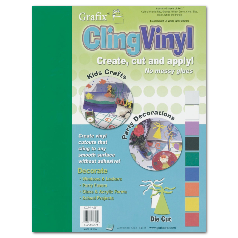 Grafix Cling Vinyl Film Assorted 9X12 9/Pack