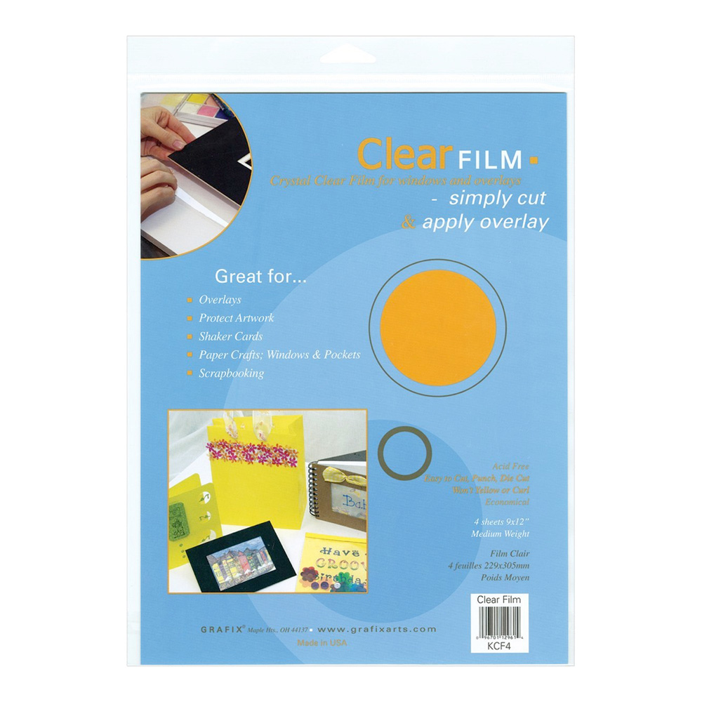 Grafix Clear Film .005 Med Weight 9X12 Pkg 4