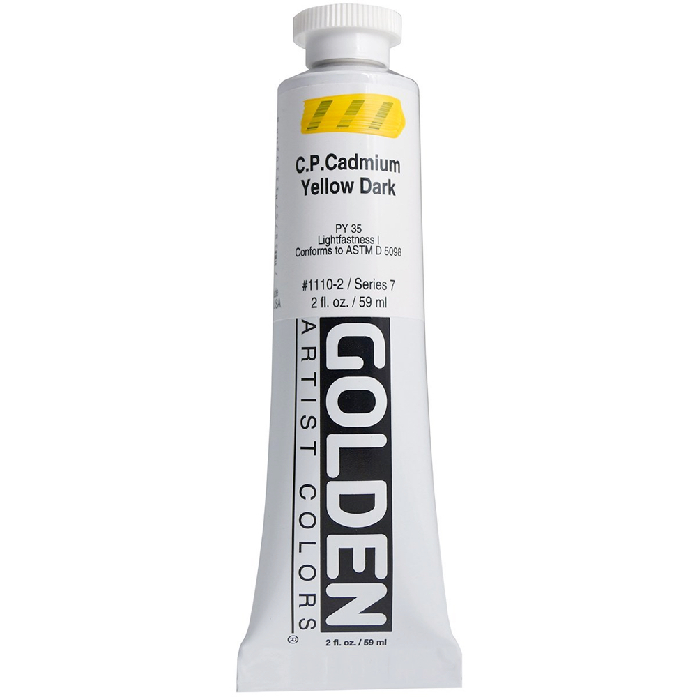 Golden Acrylic 2 Oz Cadmium Yellow Dark