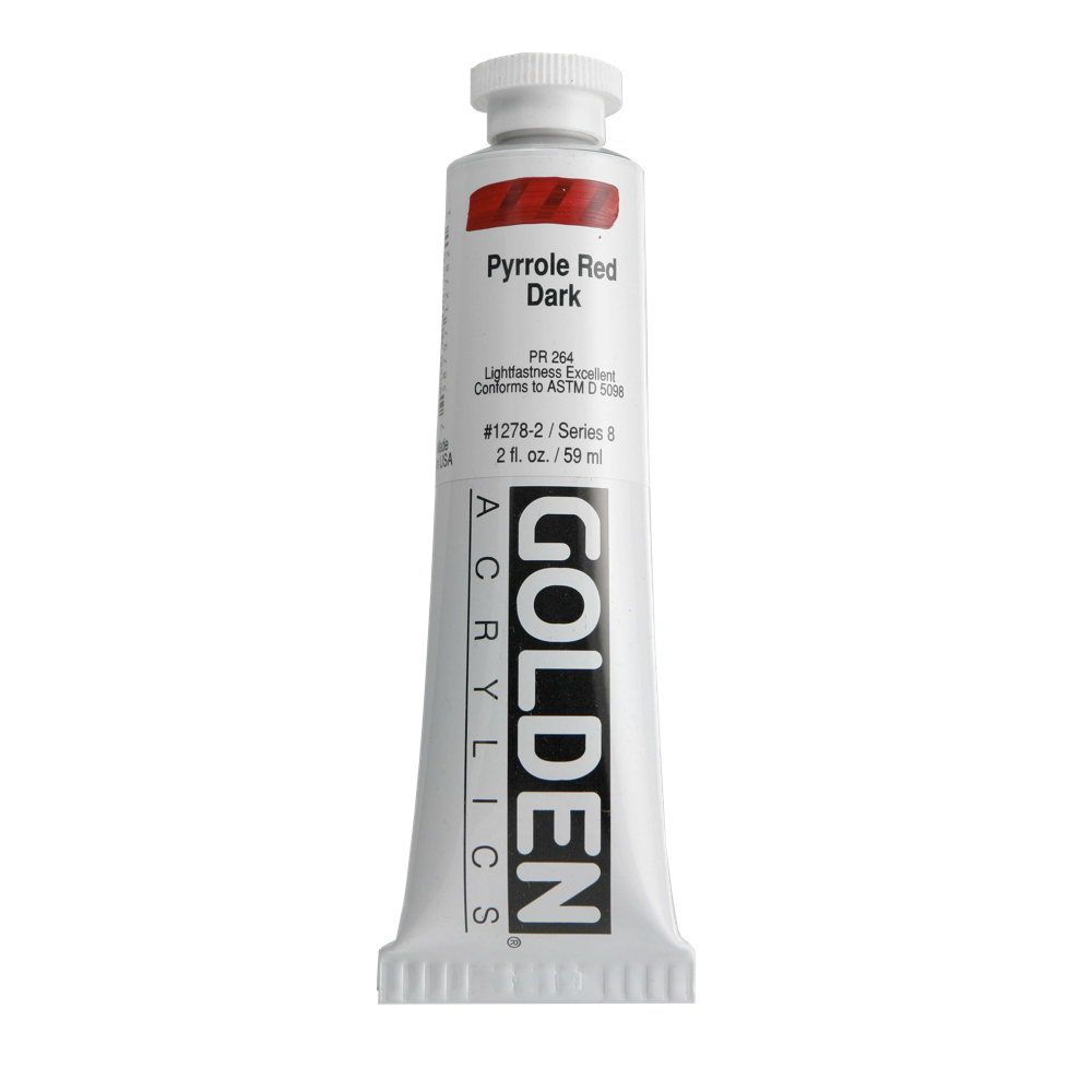 Golden Acrylic 2 Oz Pyrrole Red Dark