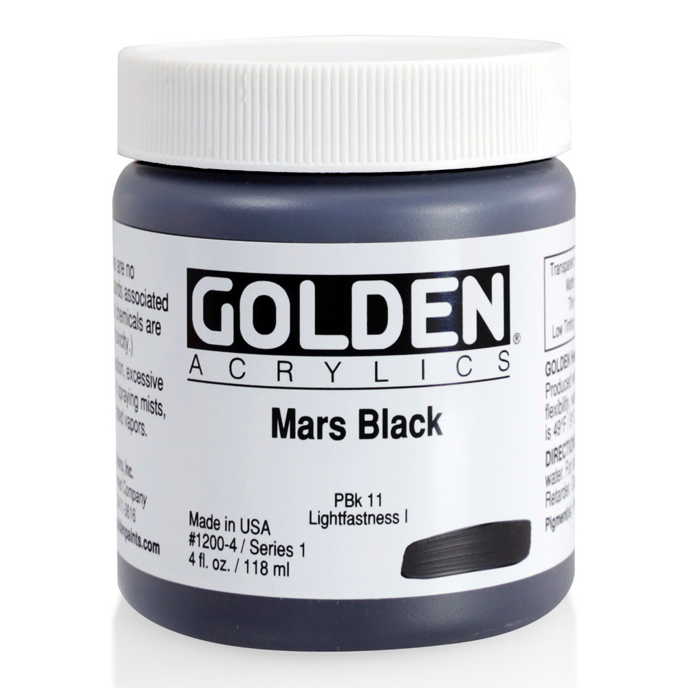 Golden Acrylic 4 Oz Mars Black