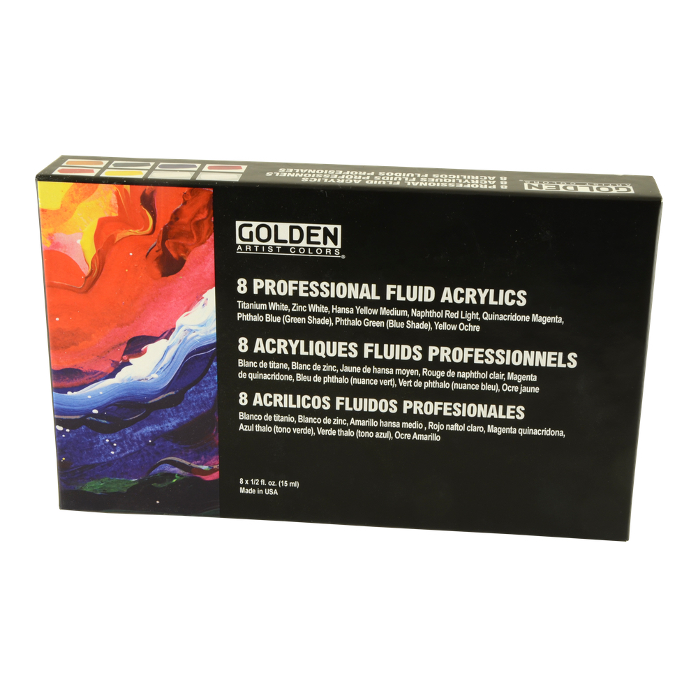 Golden Fluid Acrylic 1/2 Oz Set Of 8