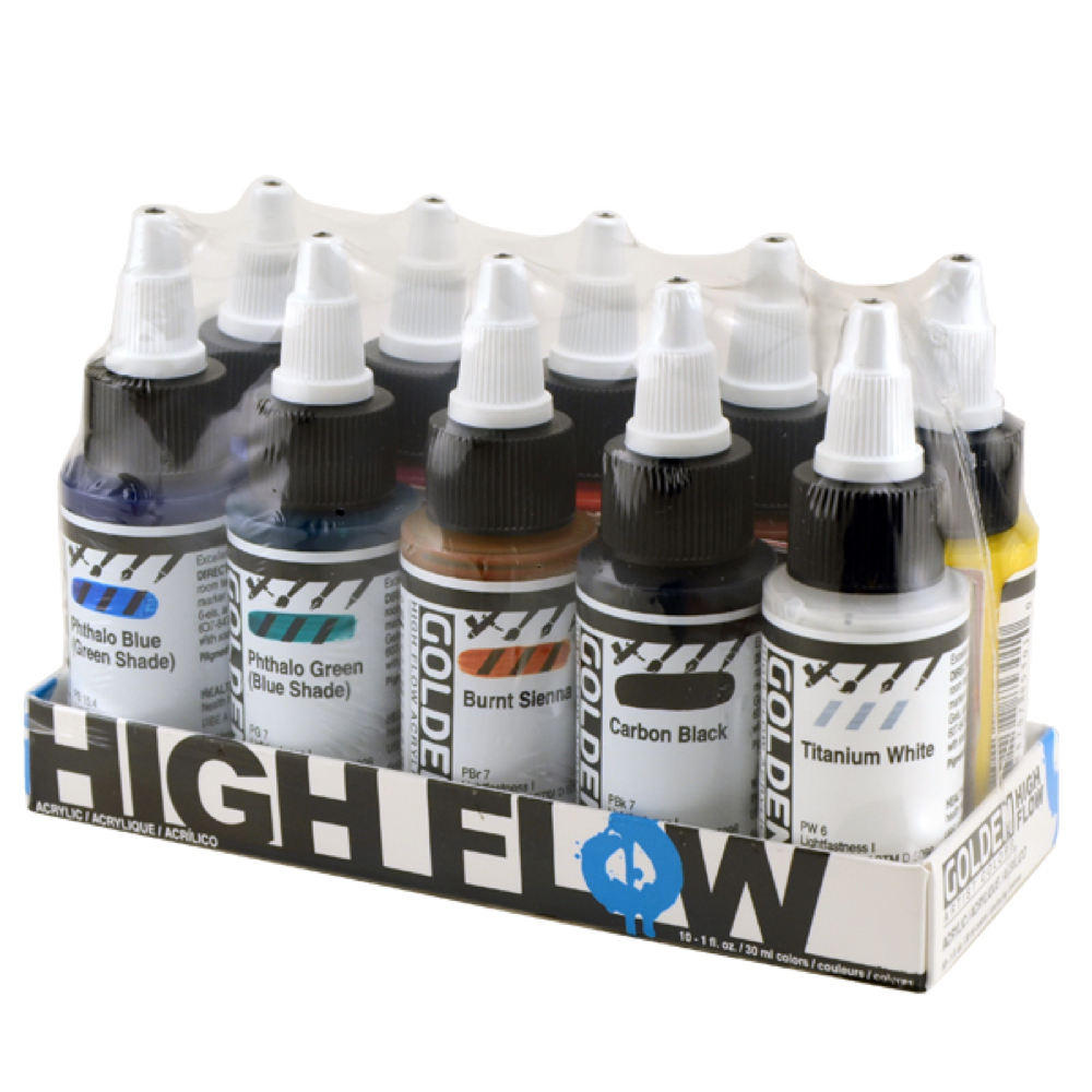 Golden High Flow Acrylic Assortd 10 Color Set