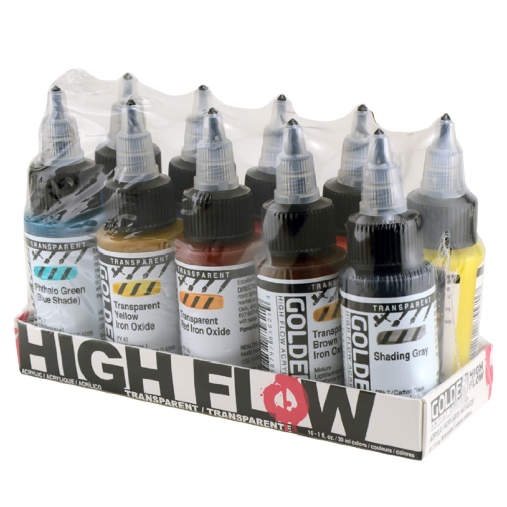 Golden High Flow Acrylic Transp 10 Color Set