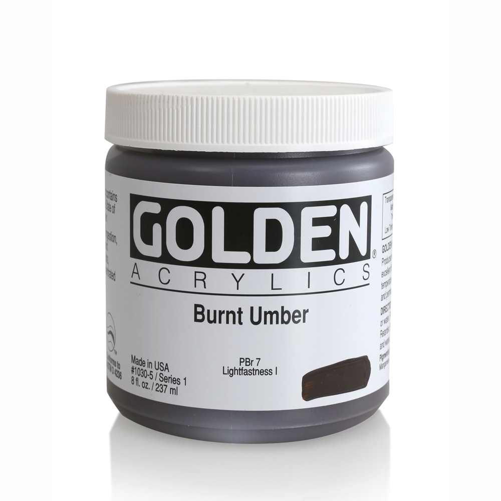 Golden Acrylic 8 Oz Burnt Umber