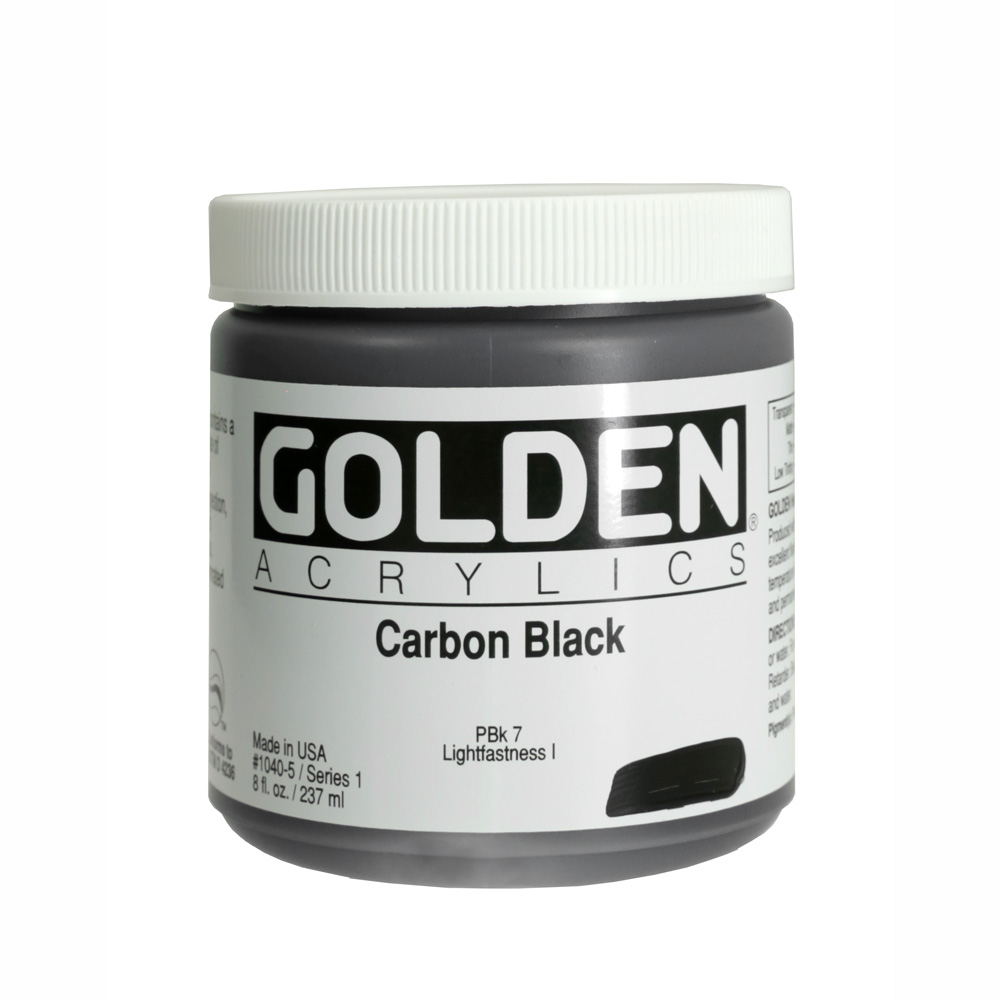 Golden Acrylic 8 Oz Carbon Black