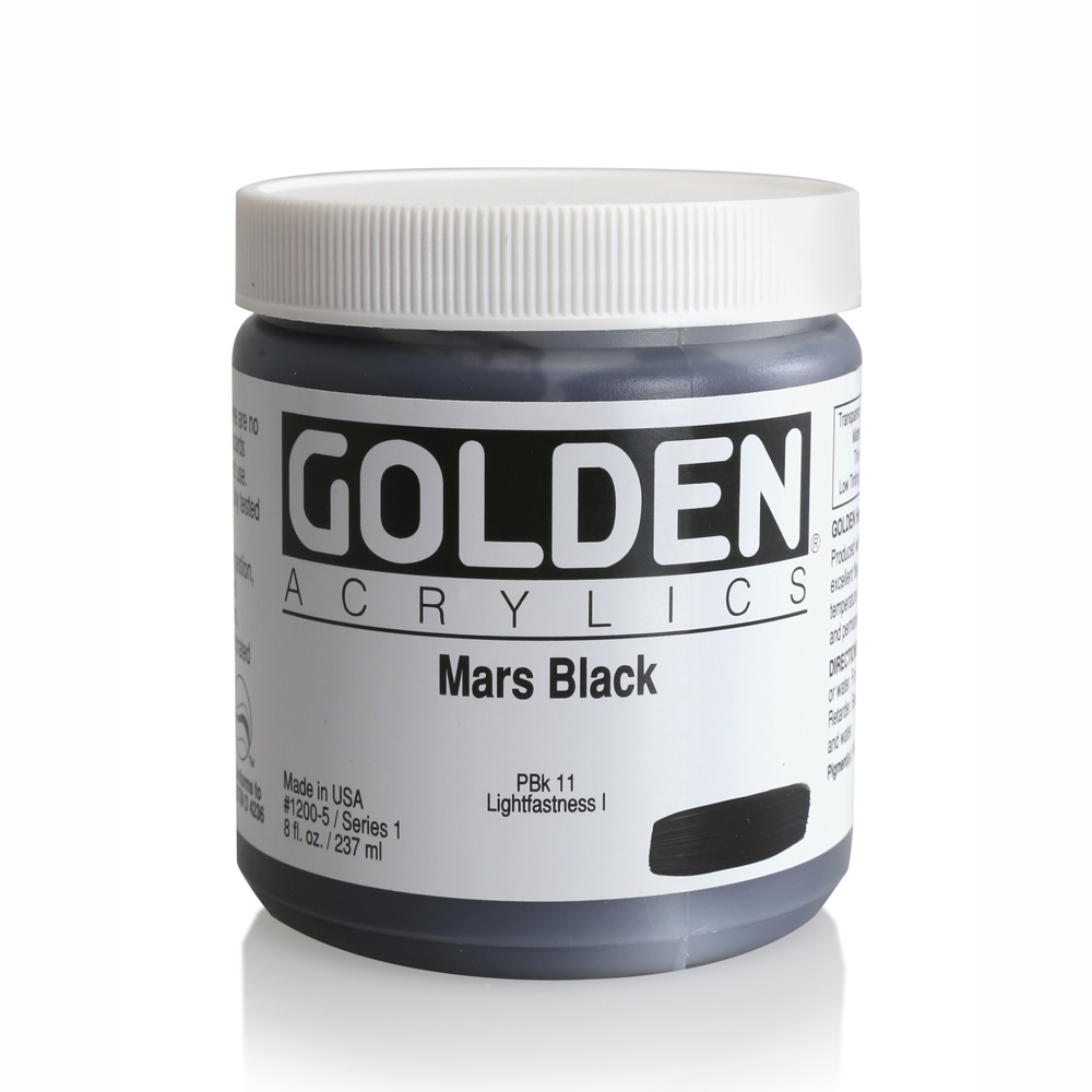 Golden Acrylic 8 Oz Mars Black