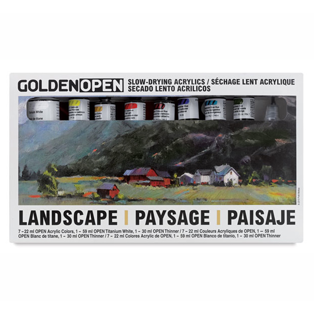 Golden Open Acrylic Landscape Set Of 8