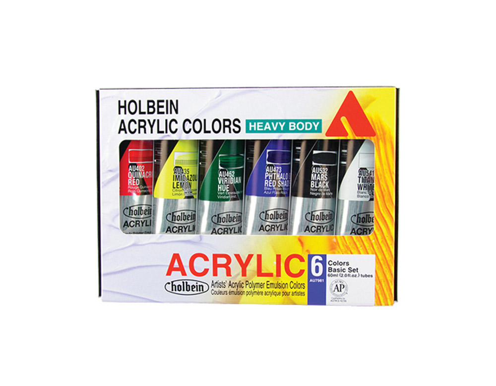 Holbein Hb Artist Acrylic Basic Set Of 6 60Ml