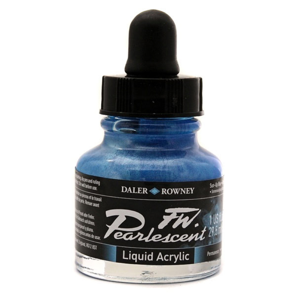 Fw Pearlescent Acrylic Ink 1 Oz Sun Up Blue