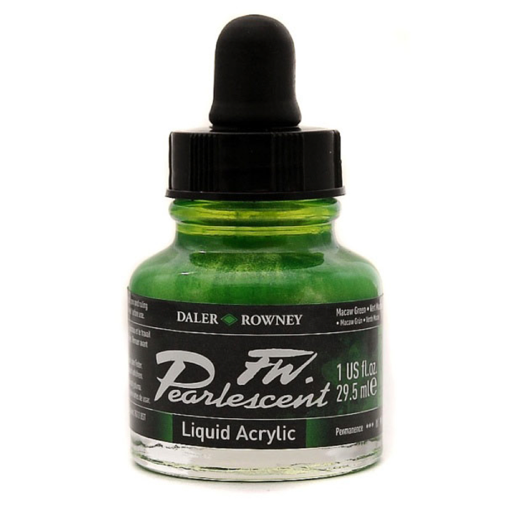 Fw Pearlescent Acrylic Ink 1 Oz Macaw Green