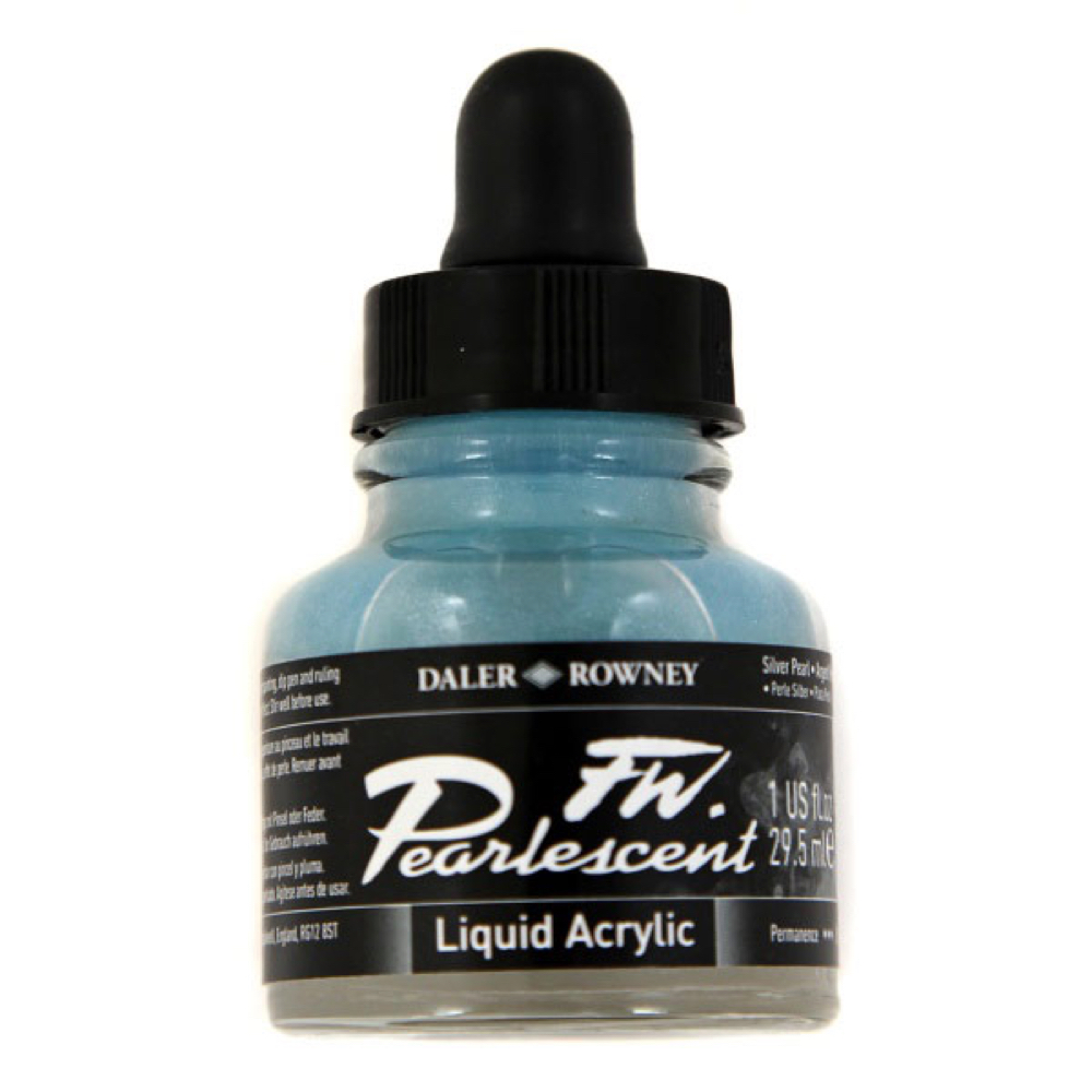 Fw Pearlescent Ac Ink 1 Oz Silver Pearl