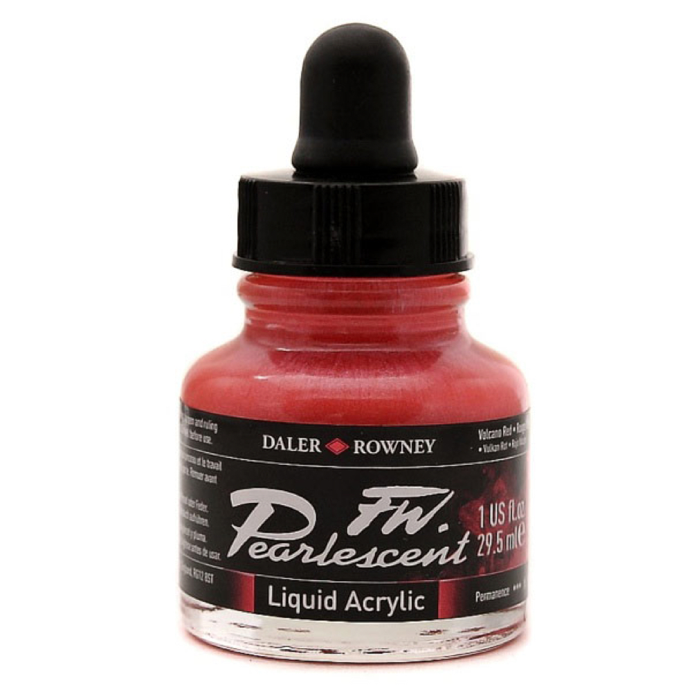 Fw Pearlescent Acrylic Ink 1Oz Volcano Red