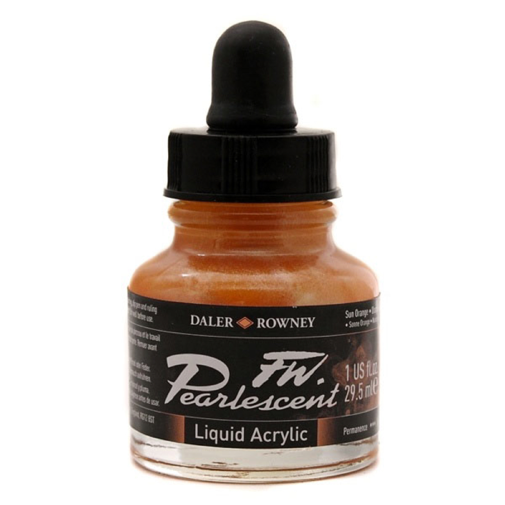 Fw Pearlescent Acrylic Ink 1 Oz Sun Orange