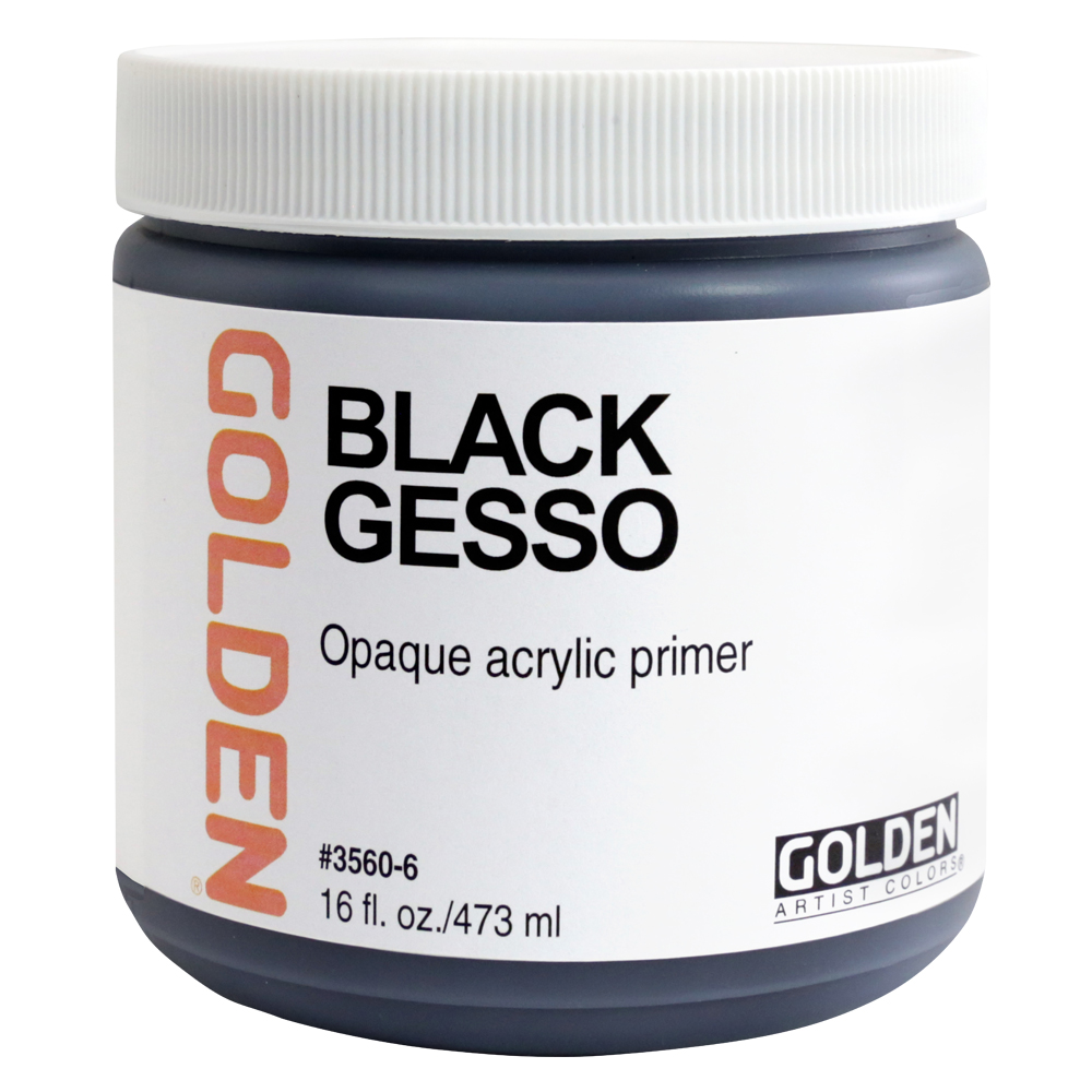 Golden Acrylic 16 Oz Black Gesso