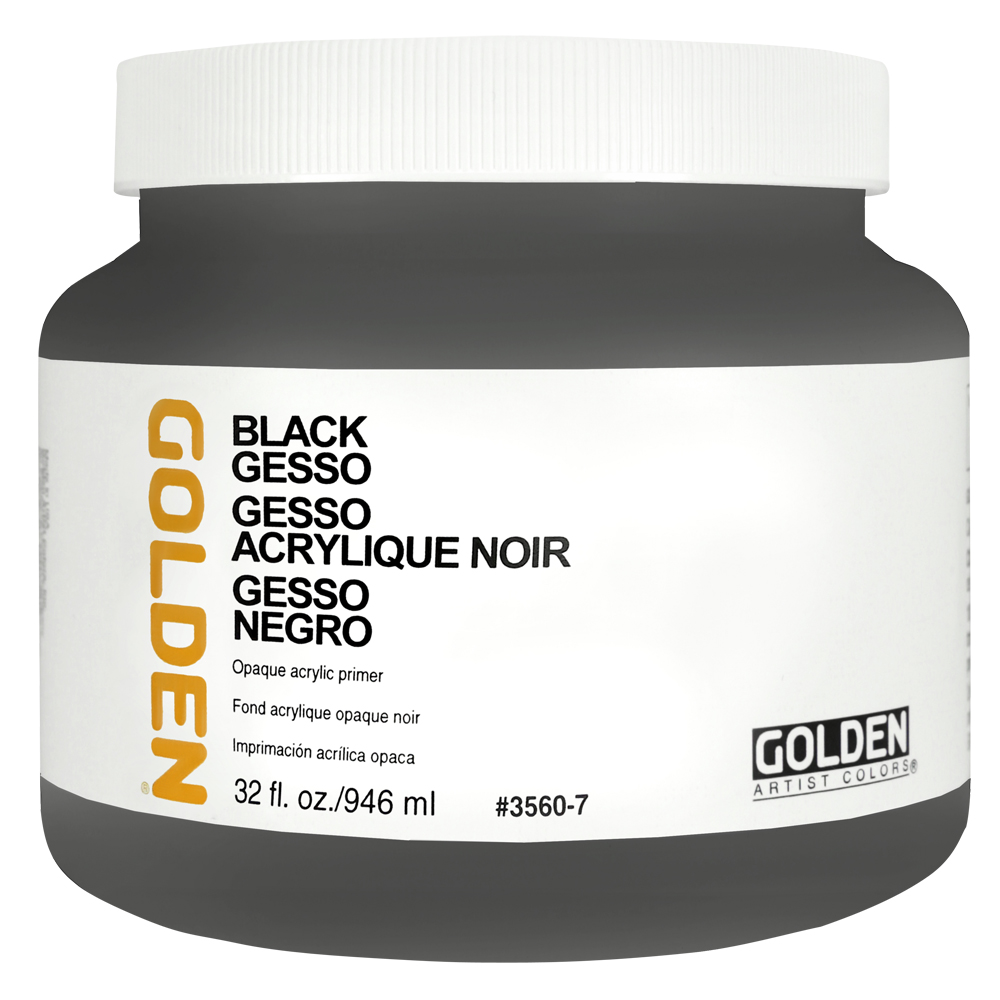 Golden Acrylic 32 Oz Black Gesso