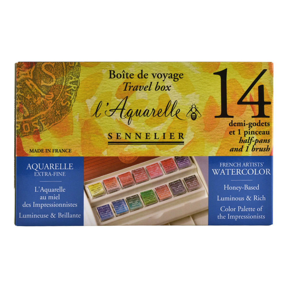 Sennelier Watercolor Travel 14 Half Pan Set