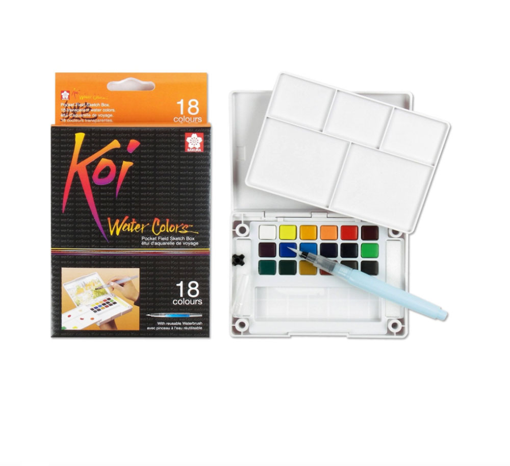 Koi Watercolor Field Sketch Bx 18 Pc Set