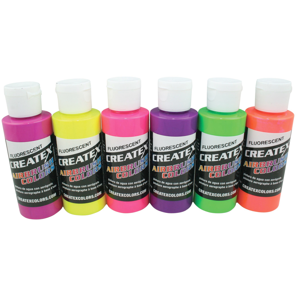 Createx 2 Oz Set Of 6 Fluorescent Colors