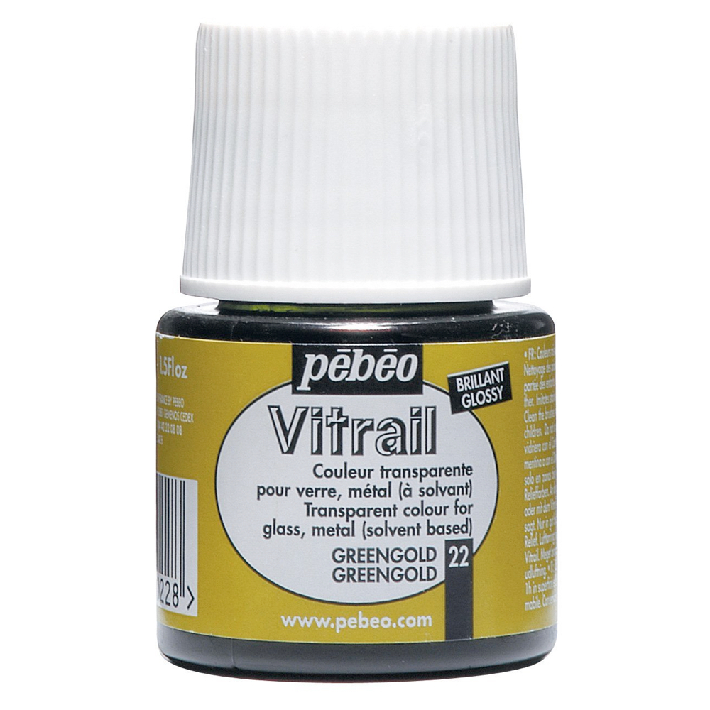 Pebeo Vitrail Glass Paint 45Ml Greengold