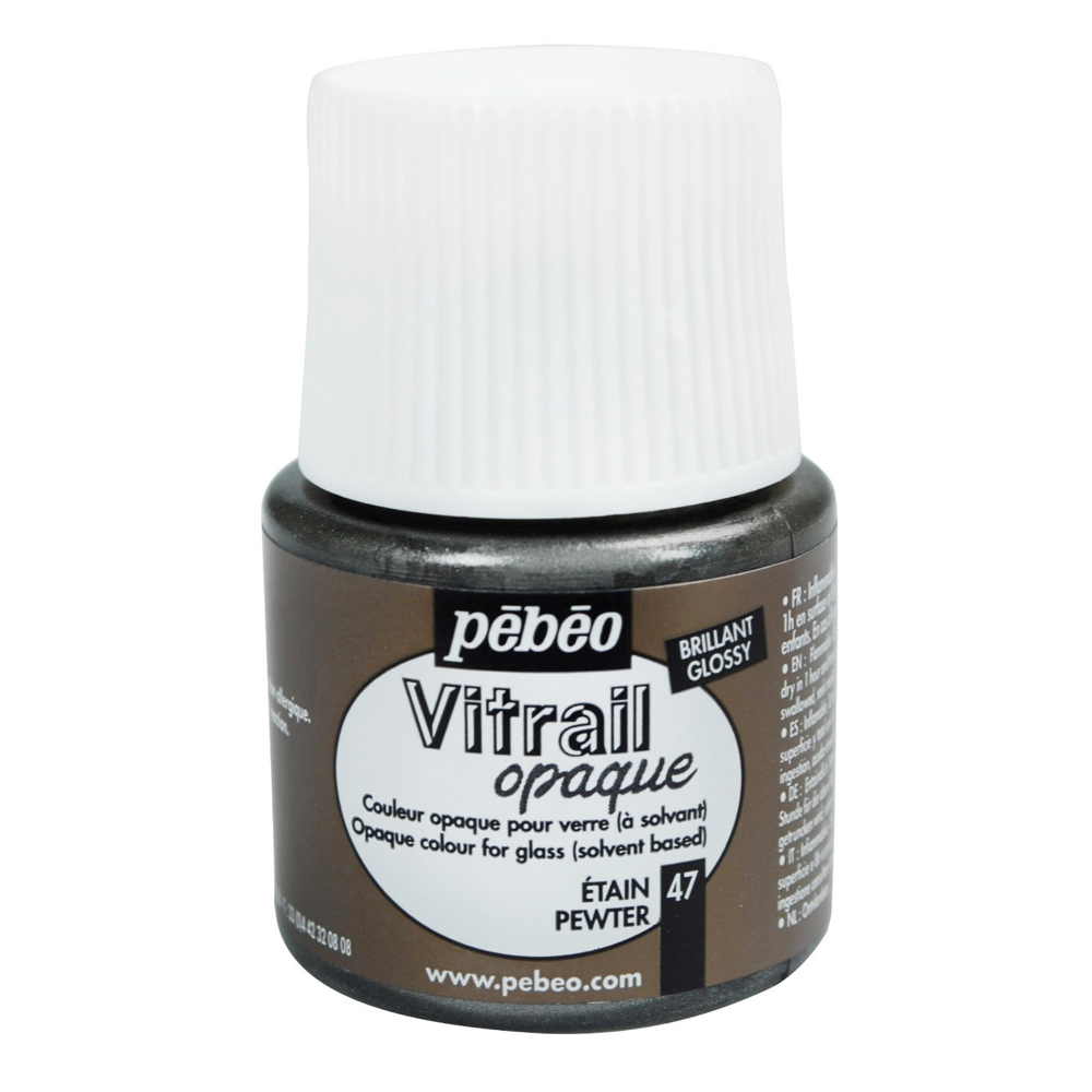 Pebeo Vitrail Glass Paint 45Ml Opaque Pewter