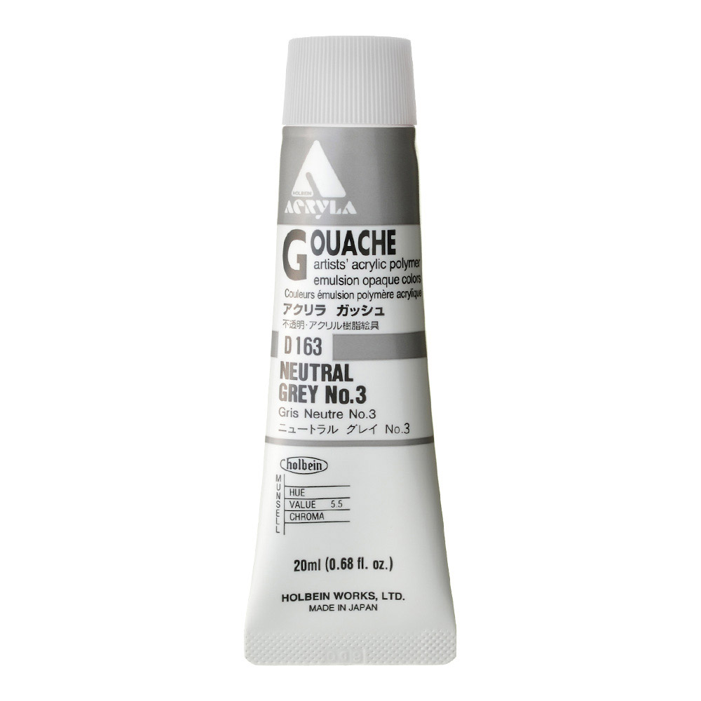 Holbein Acryla Gouache 20ml Neutral Grey 3