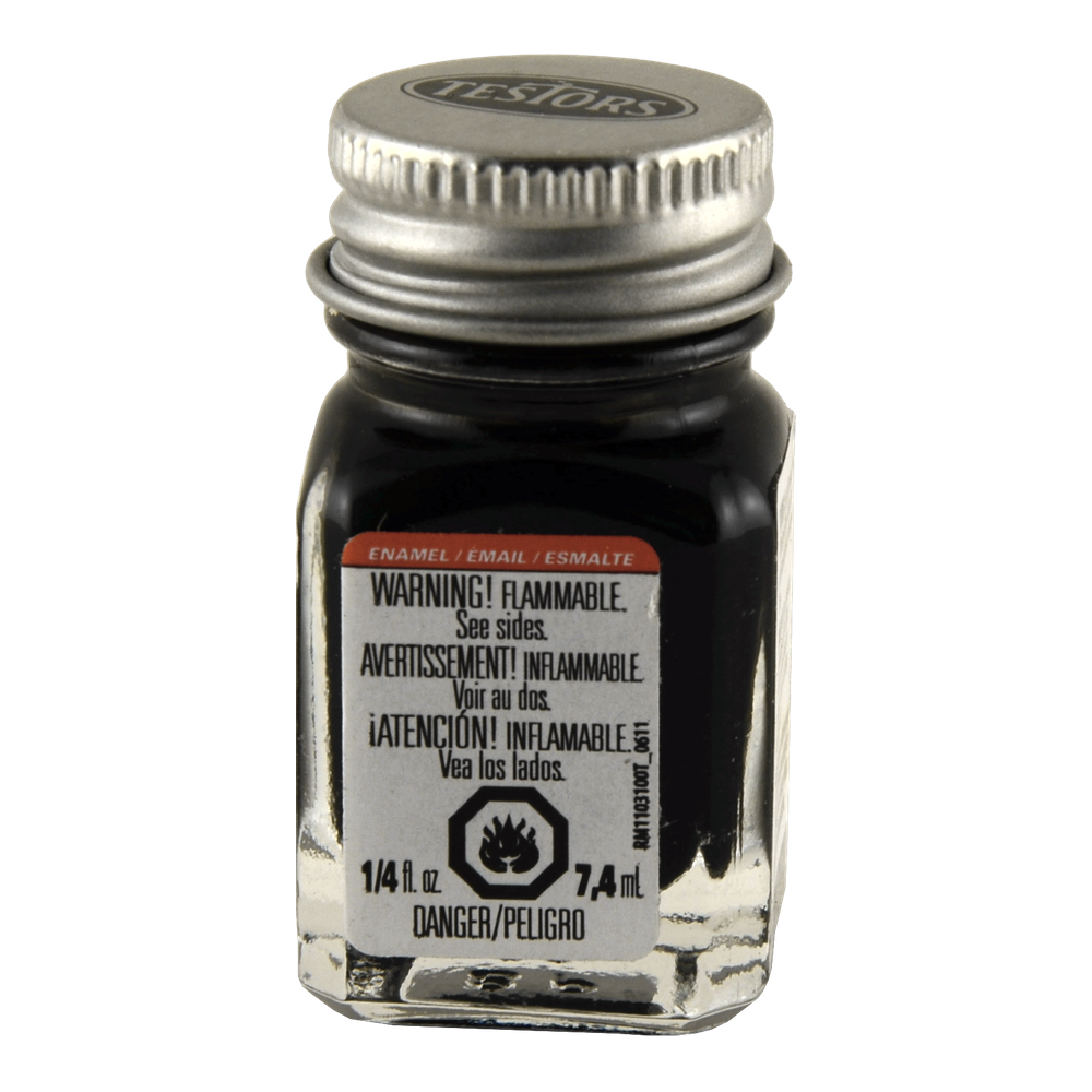 Testors Enamel 1/4 Oz Bottle Flat Black