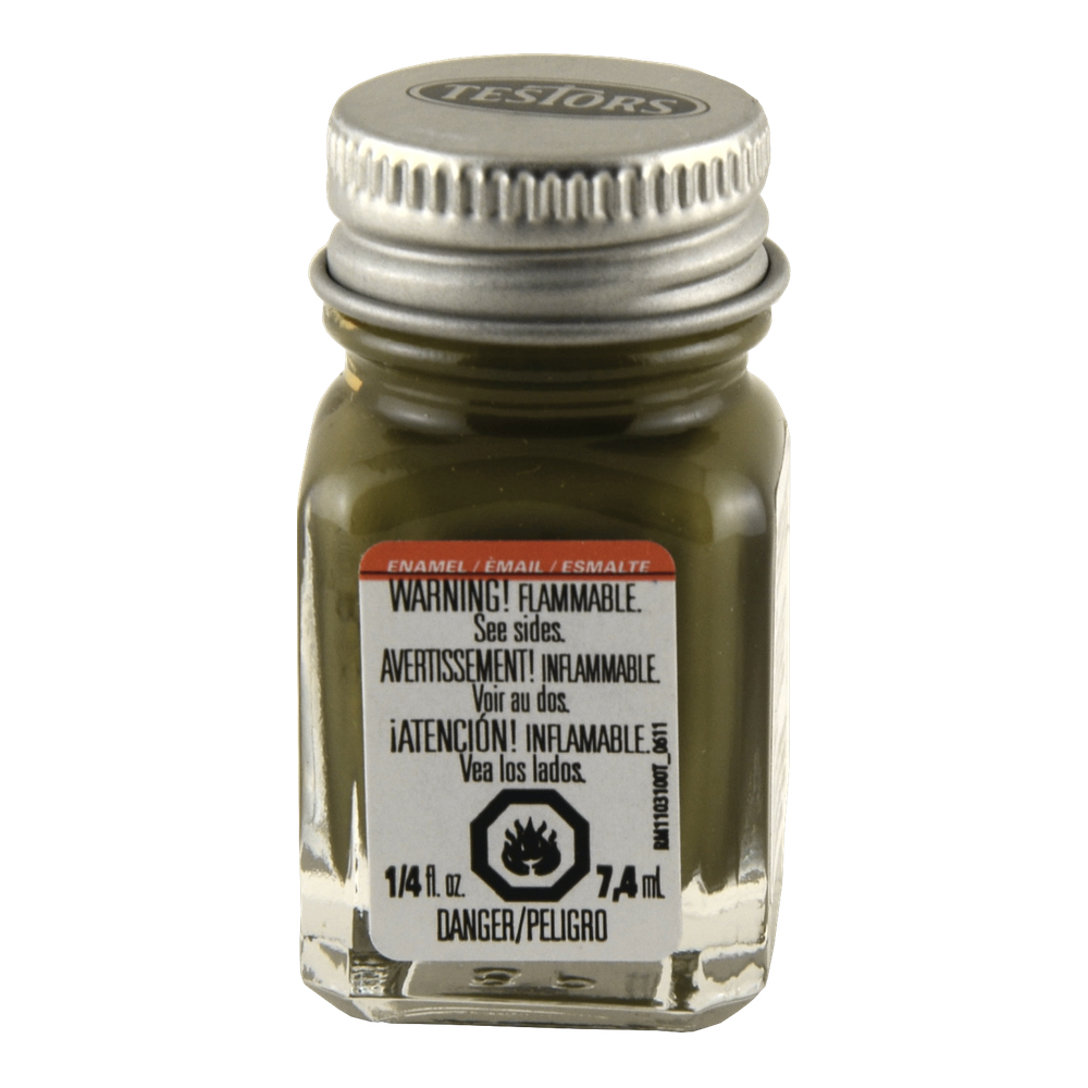 Testors Enamel 1/4 Oz Bottle Flat Olive