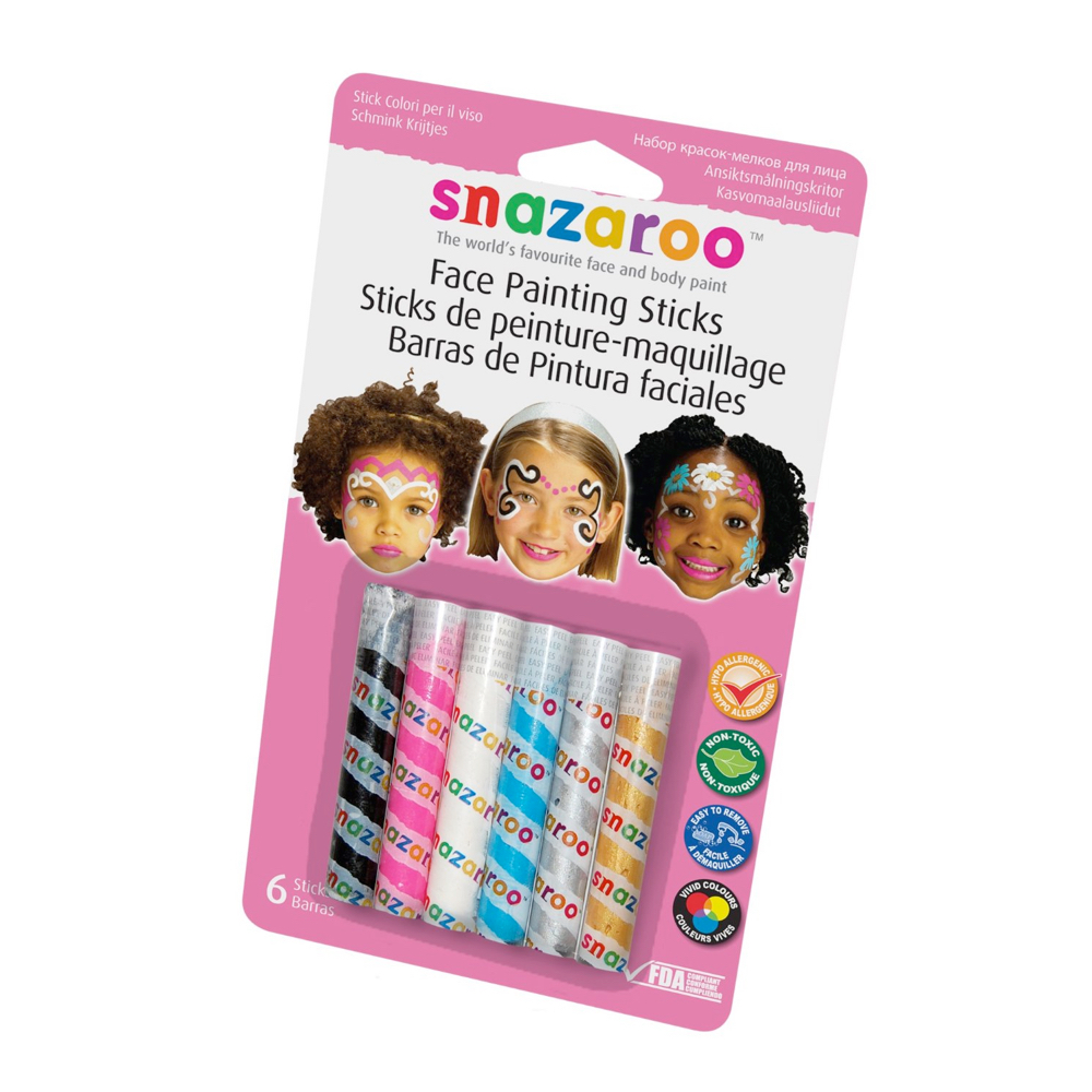 Snazaroo 6 Face Paint Sticks - Girls Set