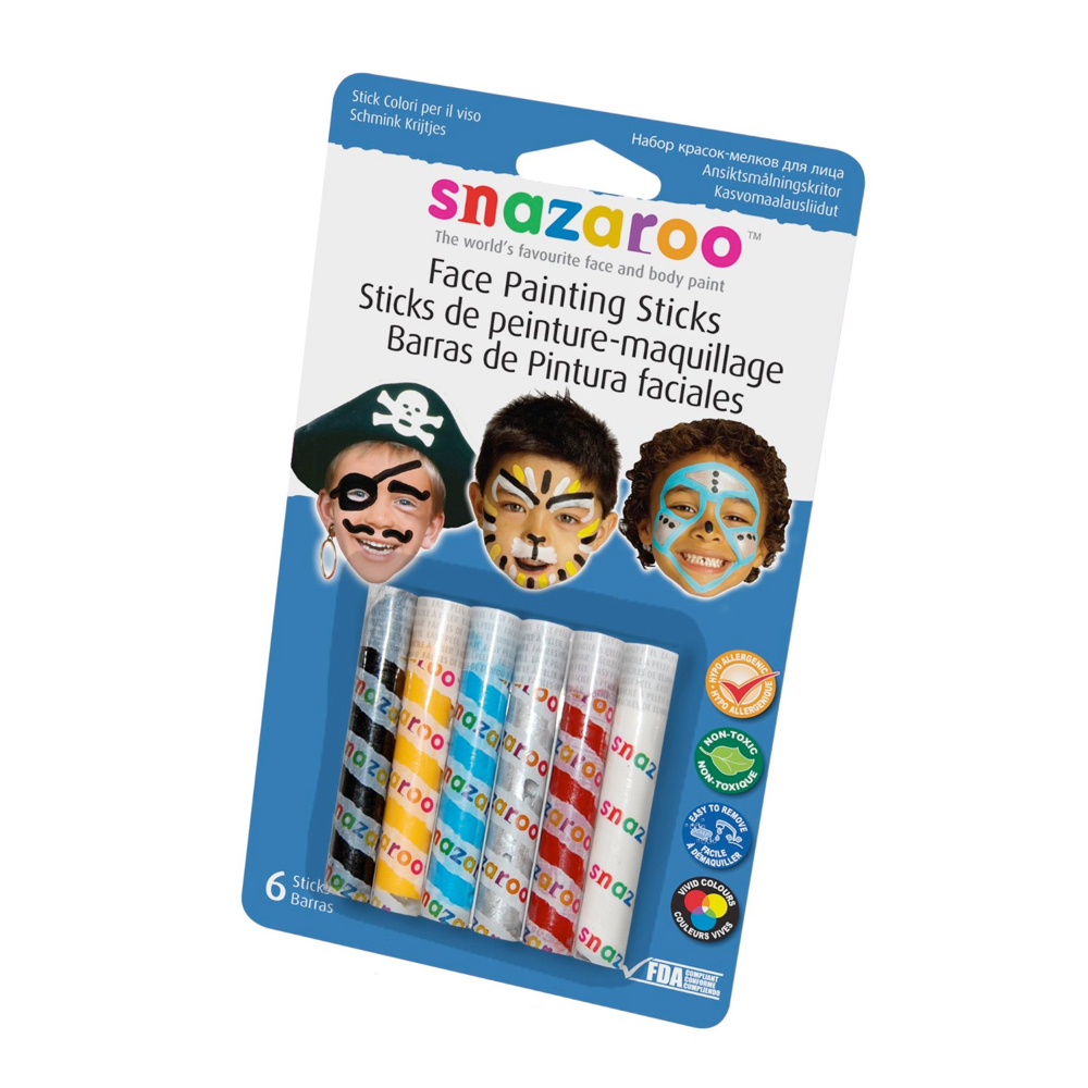 Snazaroo 6 Face Paint Sticks - Boys Set