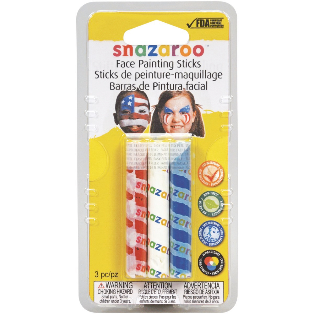 Snazaroo 3 Face Paint Sticks: Red/White/Blue