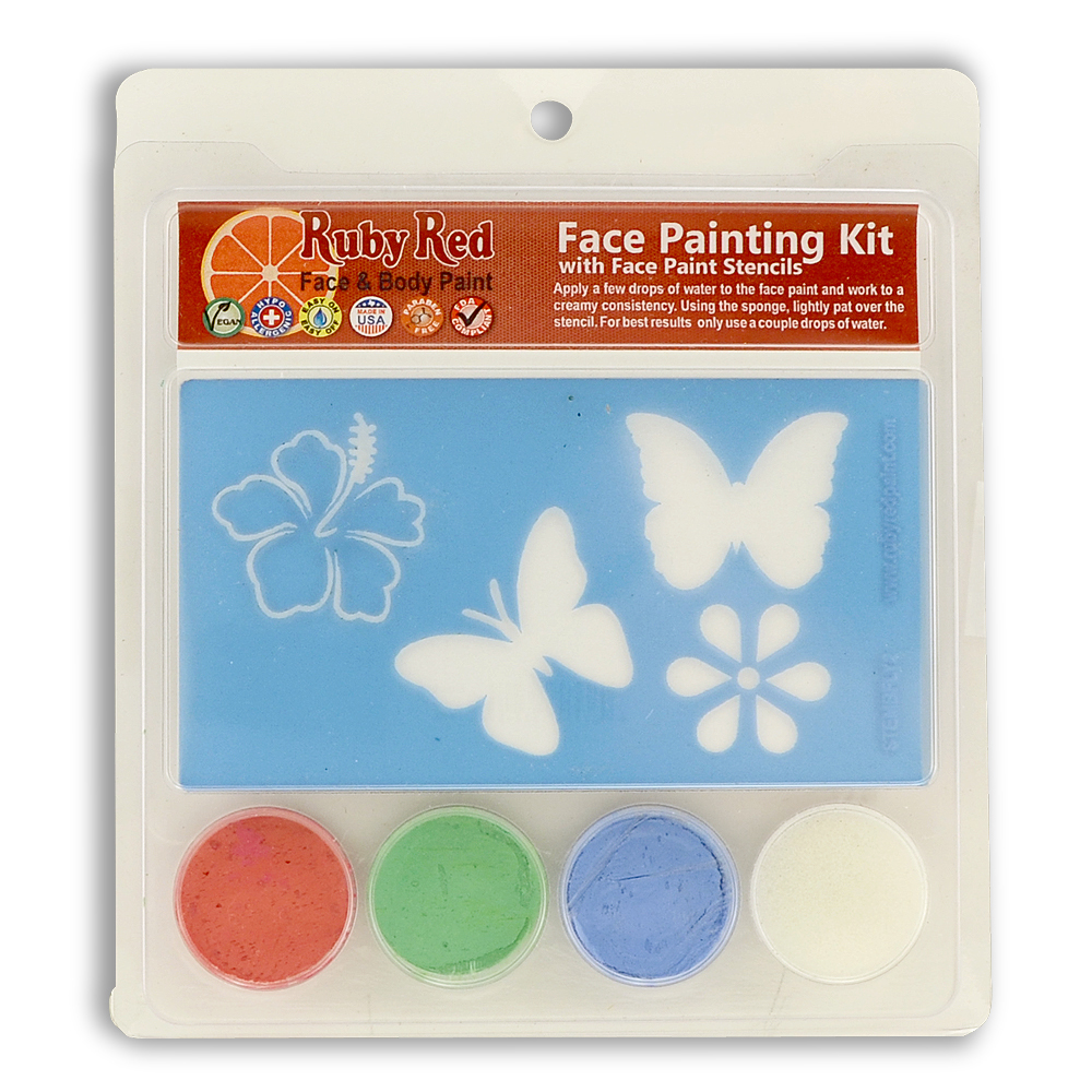 Ruby Red Butterfly Stencil Face Paint Kit