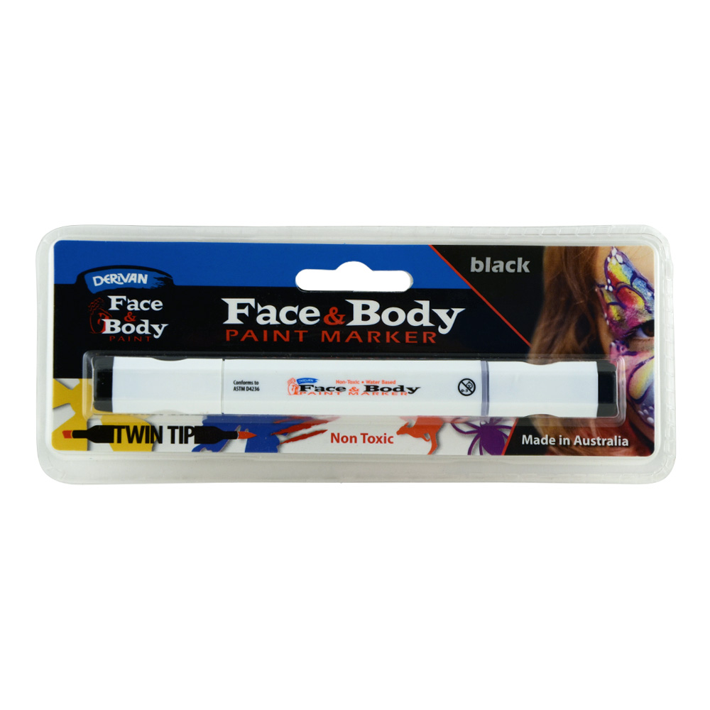 Derivan Face&Body Twintip Paint Marker Black