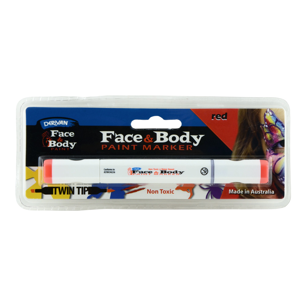Derivan Face&Body Twintip Paint Marker Red