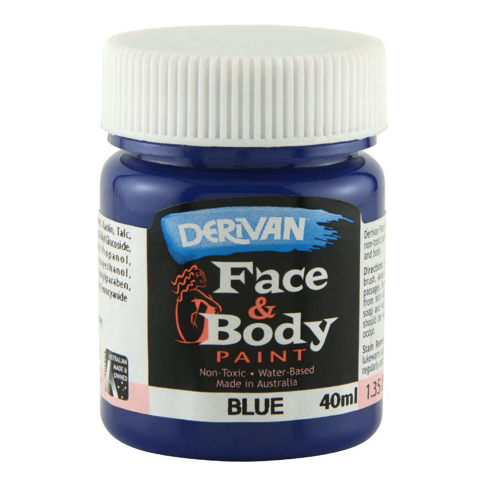 Derivan Face & Body Paint 40ml Jar Blue