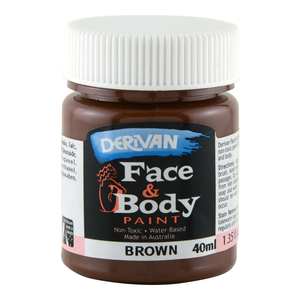 Derivan Face & Body Paint 40ml Jar Brown
