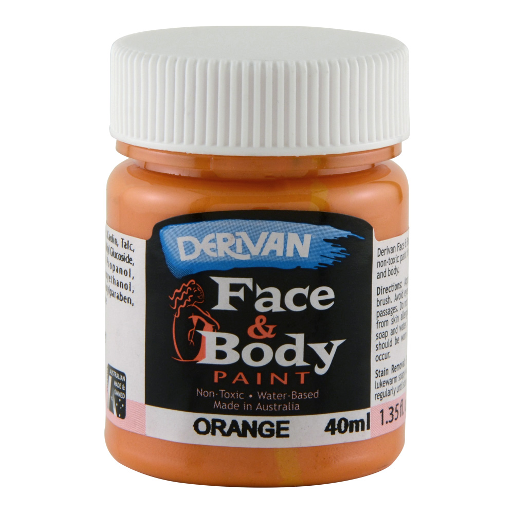 Derivan Face & Body Paint 40ml Jar Orange