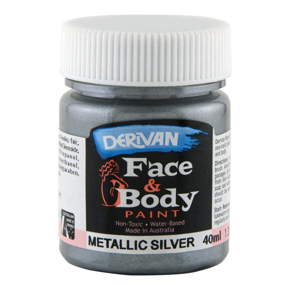 Derivan Face & Body Paint 40ml Jar Silver