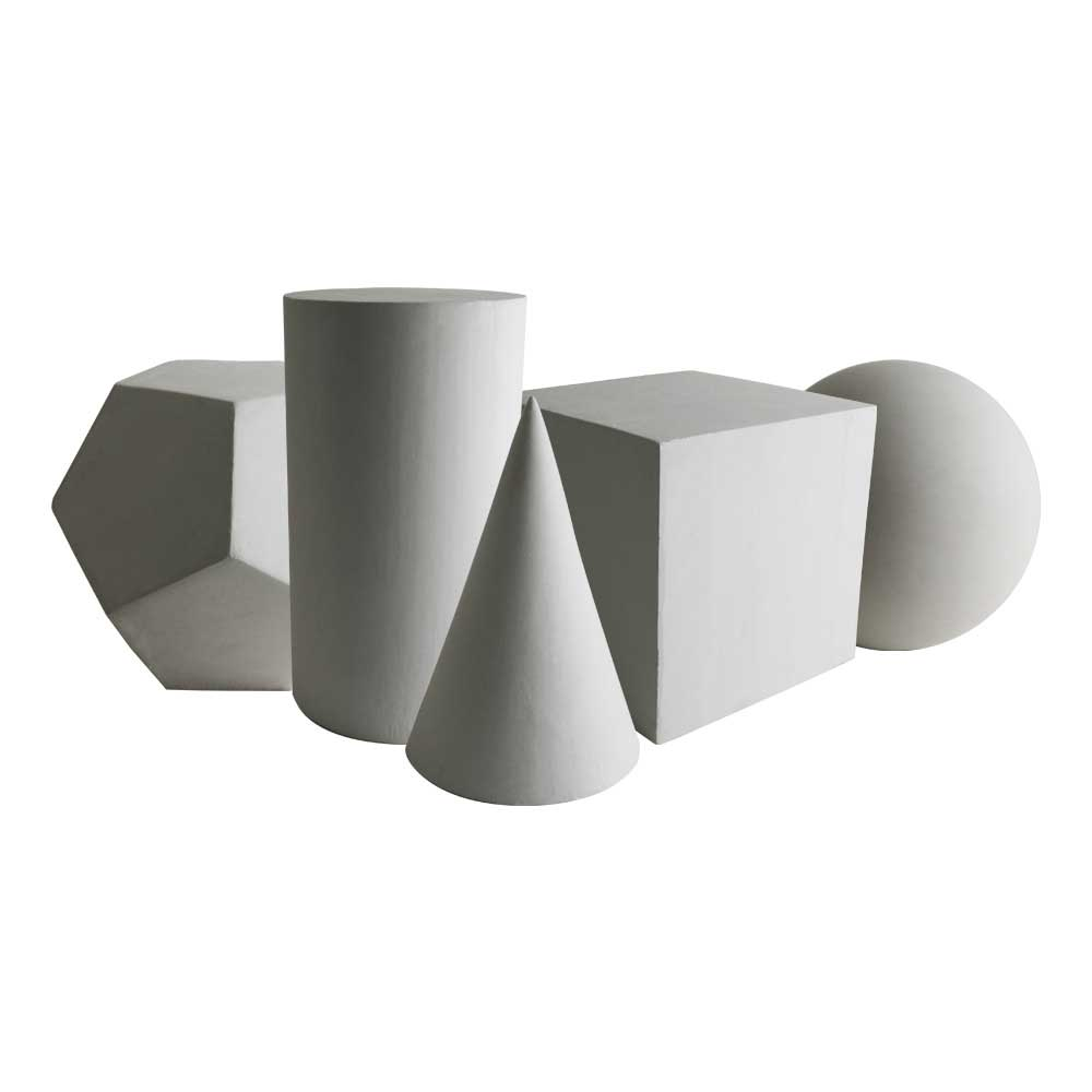Plaster Cast-Set Of 5 Geometric Shapes