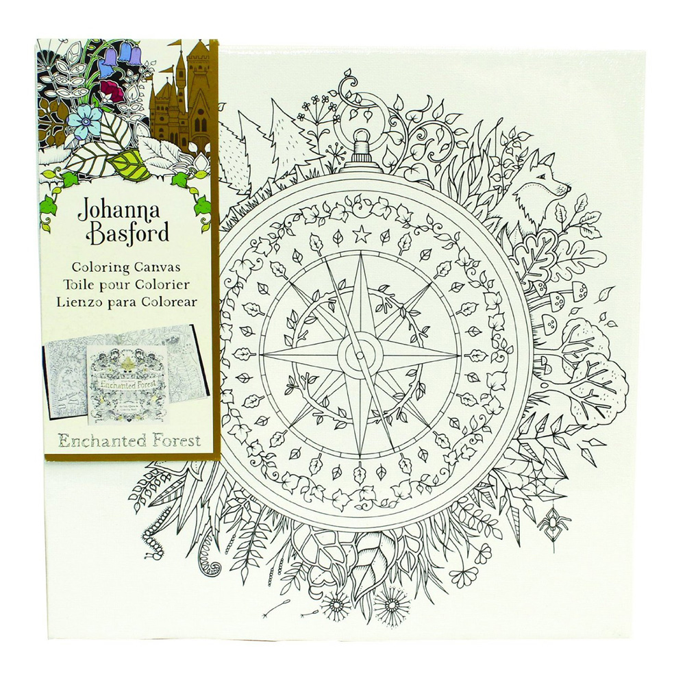 Ench Forest Coloring Canvas Compass 12X12