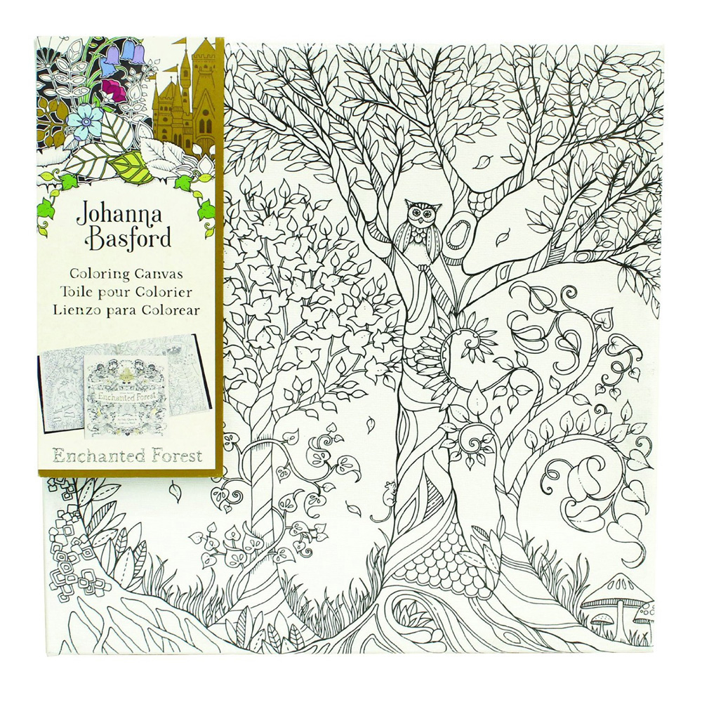 Ench Forest Coloring Canvas Owl Tree 12X12