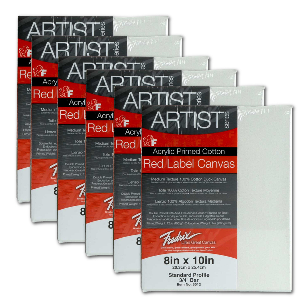 Fredrix Red Label Stretched Canvas 8X10 6Pk