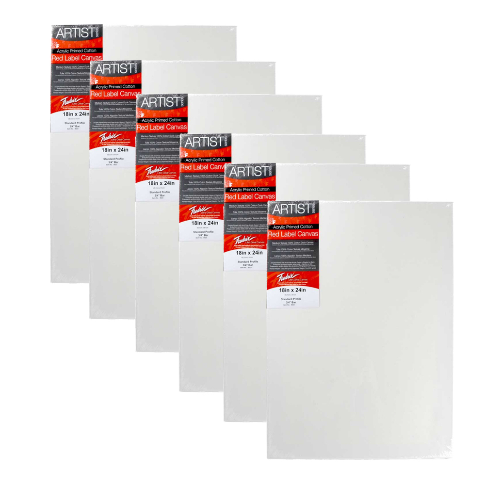 Fredrix Red Label Stretched Canvas 18X24 6Pk