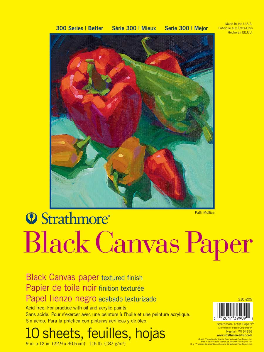 Strathmore 300 Black Canvas Paper Pad 9X12