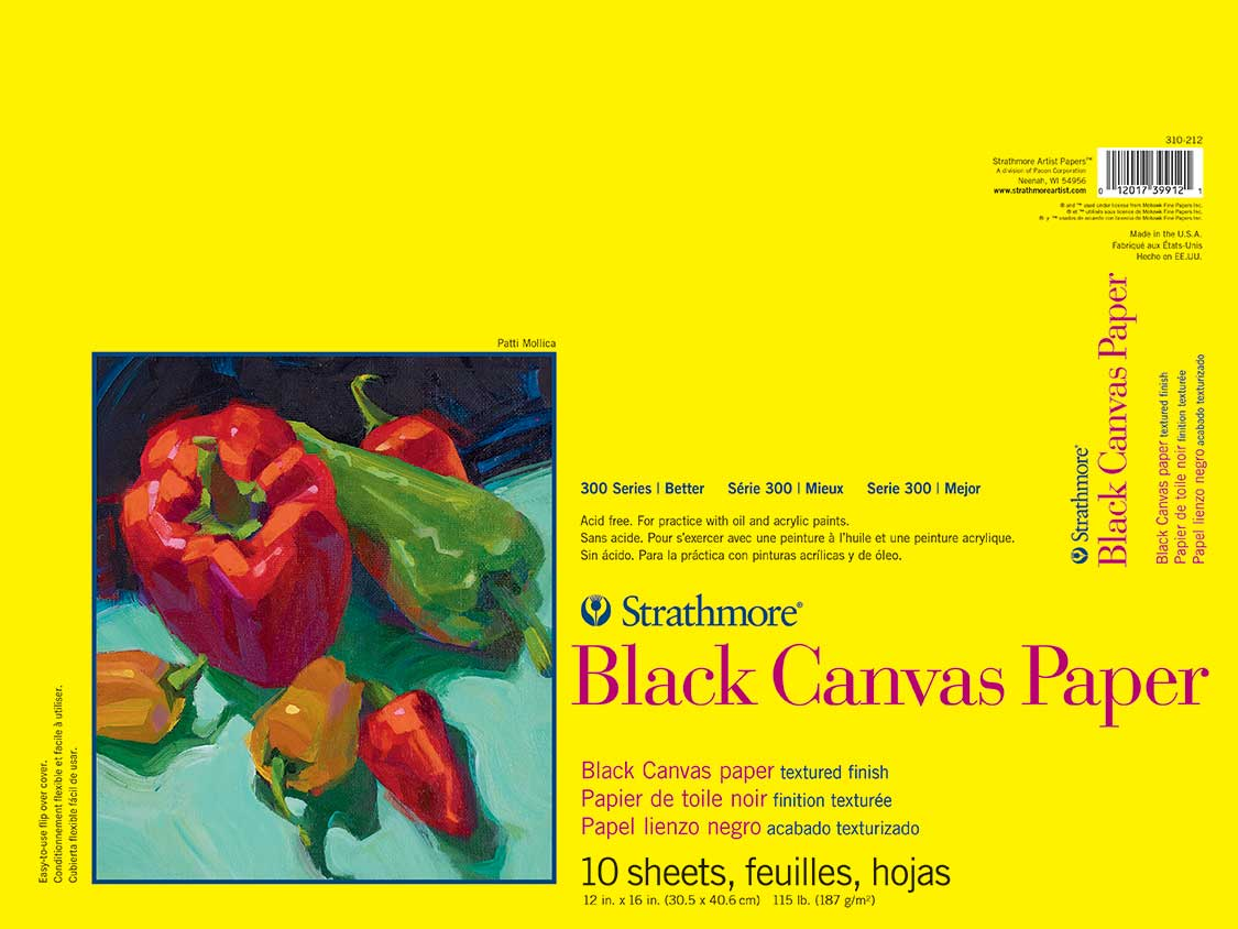 Strathmore 300 Black Canvas Paper Pad 12X16