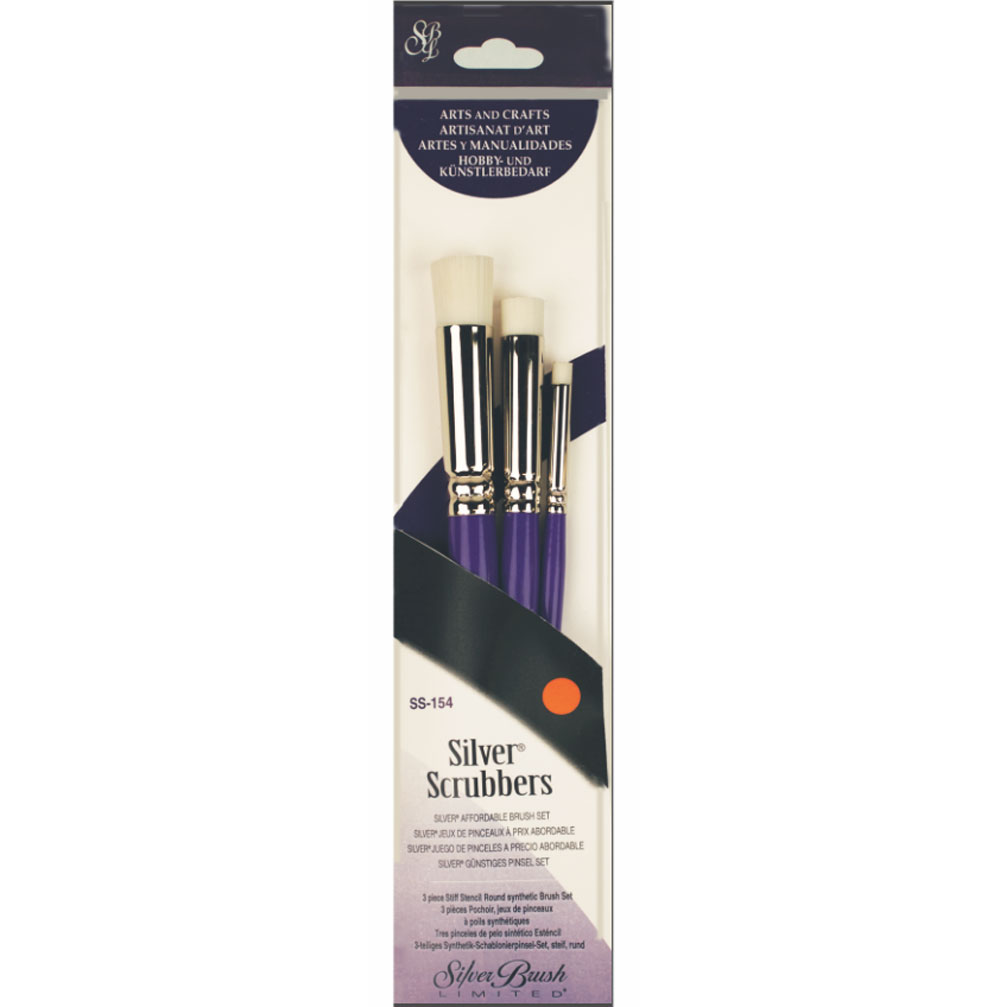 Silver Scrubber Brush Set Round Flat